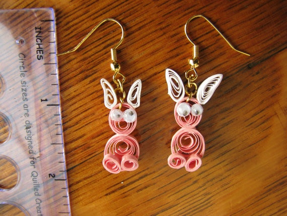 Quilled rabbit earrings