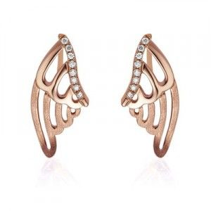 Angel Wings Diamond Earrings on 18K Rose Gold