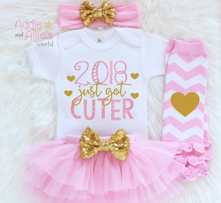 New year's outfit for your little one. #2018justgotcuter #addieandalliesworld Girls First New Year Outfit, Baby Girl 2018 Shirt, 2018 Baby Outfit, Girls Happy New Year, 1st New Year Outfit, Girls Holiday Outfit, N1P http://etsy.me/2zKosjz #clothing #children #baby #pink #newyears