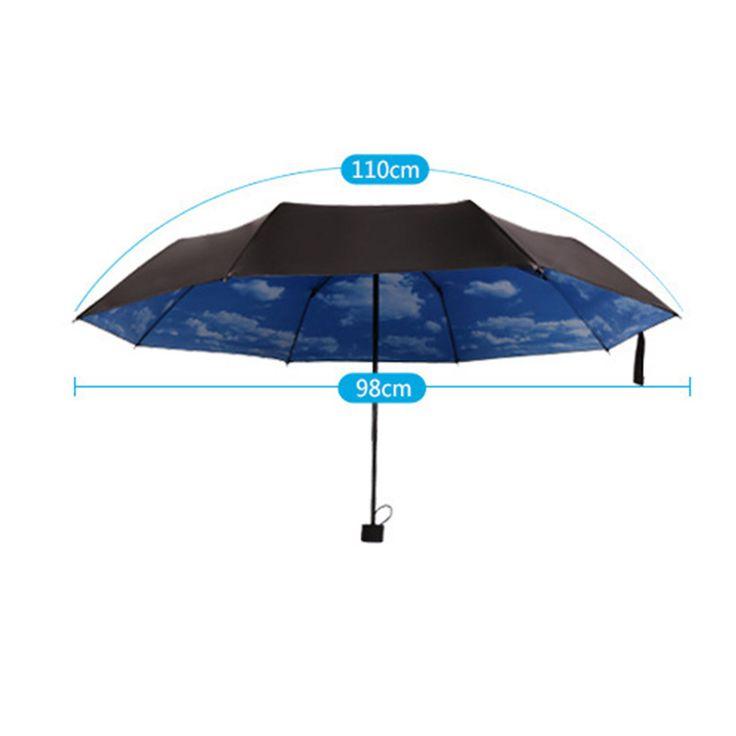 3 Folding Blue Sky Super Anti-UV Umbrellas Sun Protection Parasols Rain Umbrella