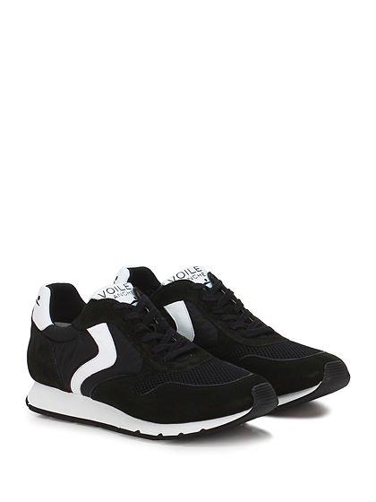 Voile Blanche - Sneakers - Uomo - Sneaker in camoscio e tessuto tecnico con suola in gomma, tacco 25. - NERO\BIANCO