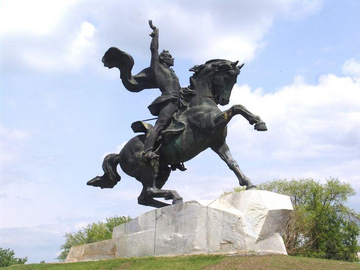 Equestrian statue of Generalissimo Alexander Suvorov on Suvorov Square, Tiraspol, Transnistria.