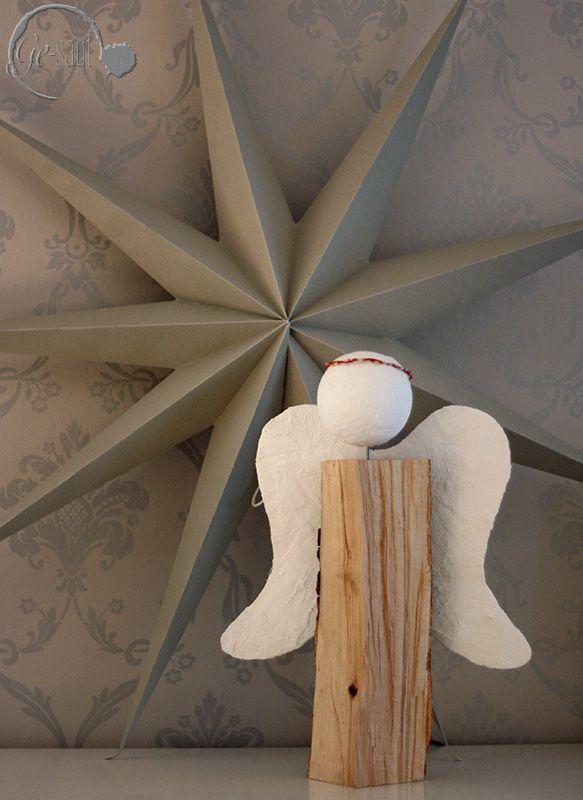 DIY Engel aus Holz und Gips