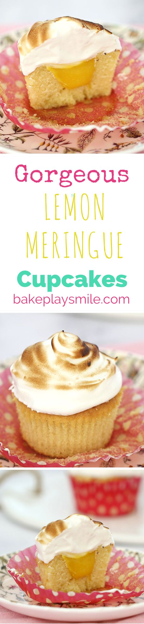 The very BEST Lemon Meringue Cupcakes ever! Perfect for high teas, baby showers or birthday parties. They look tricky, but they're actually really simple! | Bake Play Smile