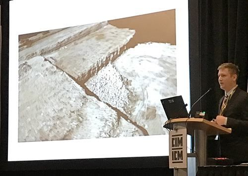 Mark Wagner presents a technical paper on Unmanned Aerial Vehicle (UAV) use for fragmentation analysis at the Canadian Institute for Mining, Metallurgy and Petroleum (CIM) 2016 Convention in Vancouver today. #mining #metallurgy #petroleum #CIM #Vancouver #wipware