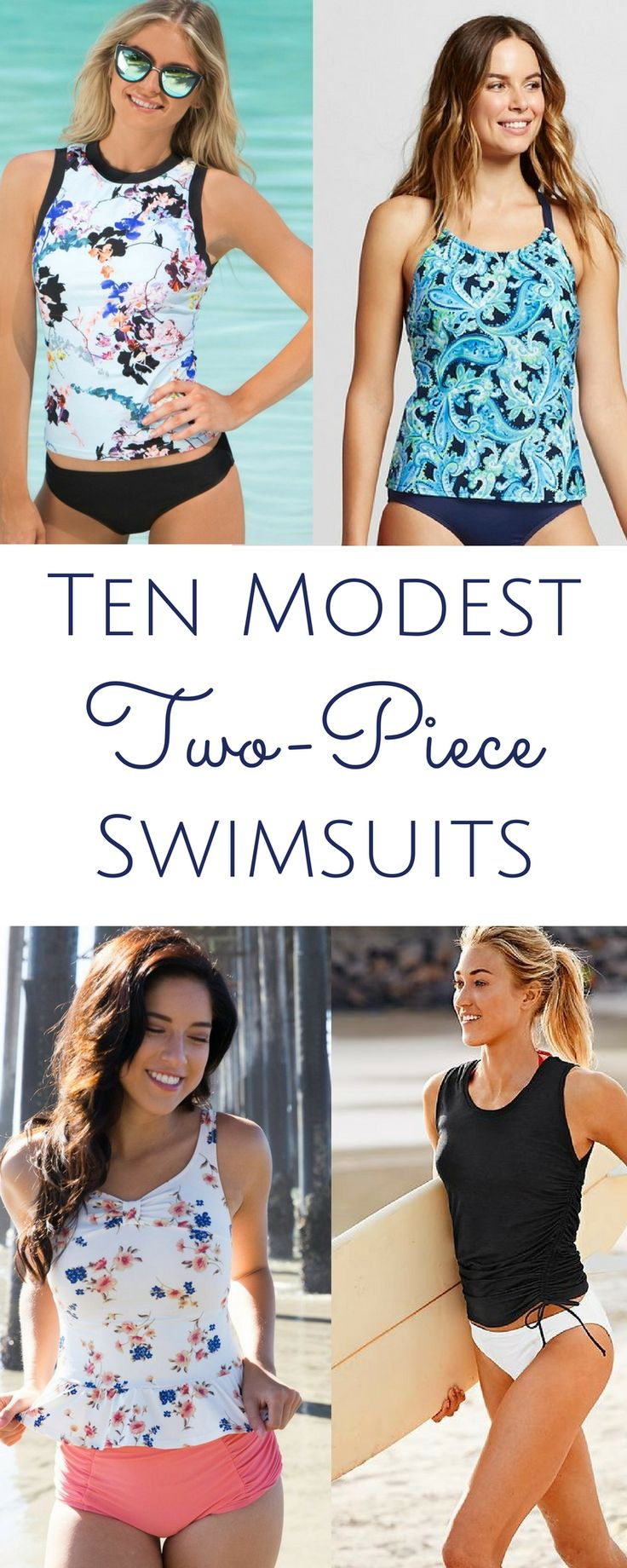 The functionality of a bikini with the coverage of a one-piece. Modest two-piece swimsuits!