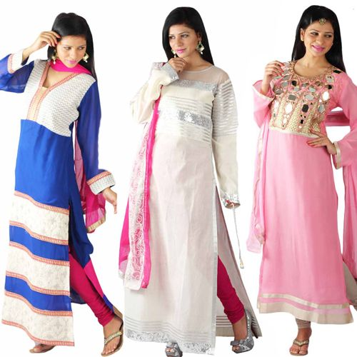 In-trend! #Long slit #Suits! Which one do you #like?  #Price: Rs4500 onwards - www.uptowngaleria.com