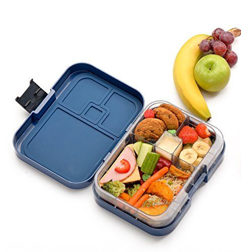 wonderesque bento lunch box leakproof lunch container for kids and adults dark blue. Black Bedroom Furniture Sets. Home Design Ideas