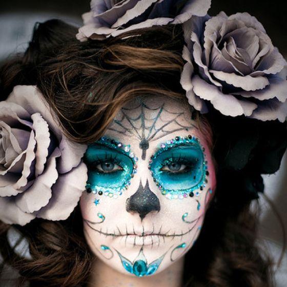 Love: Halloween Costume Ideas, Costumes Makeup, Stuff, Blue Sugar Skull Makeup, Day Of The Dead, Cool Halloween Costumes, Halloween Ideas, Cool Halloween Makeup, Makeup Idea