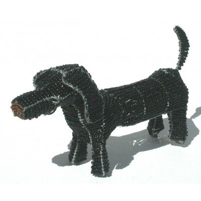 Black sausage dachshund dog wire beaded artwork handmade in Africa – handcrafted to perfection