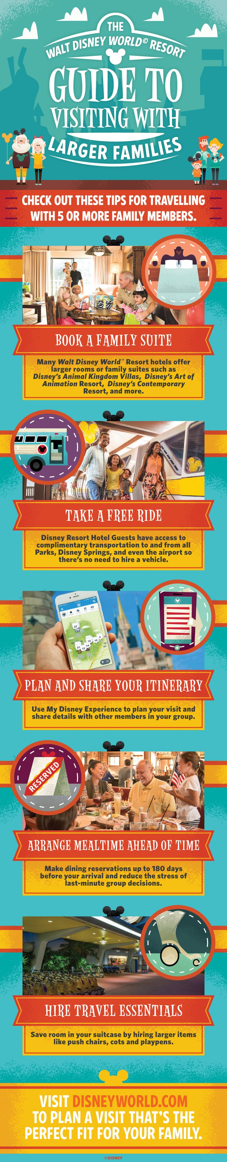 From enjoying family suite's to making dining reservations well in advance, check out our top tips guide to planning the perfect Walt Disney World holiday for a family of 5 or more!
