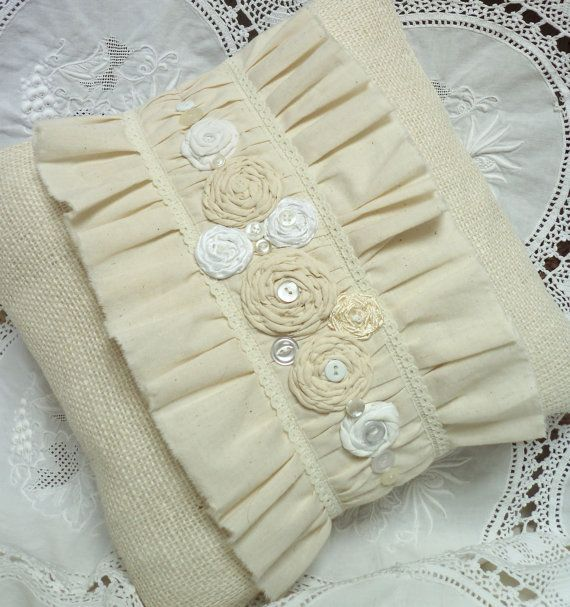 "Items similar to 12"" square-OFF WHITE Burlap and Muslin Pillow Cover. Sweet simplicity.  Shabby Chic Ruffles, Rosettes, Buttons, Lace and Beads. on Etsy"