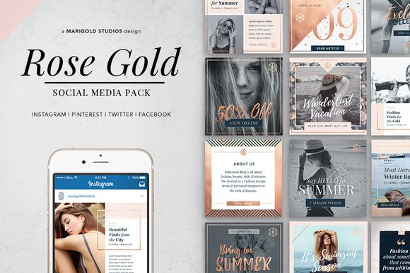 ROSE GOLD Theme | Social Media Pack by Marigold Studios on @creativemarket