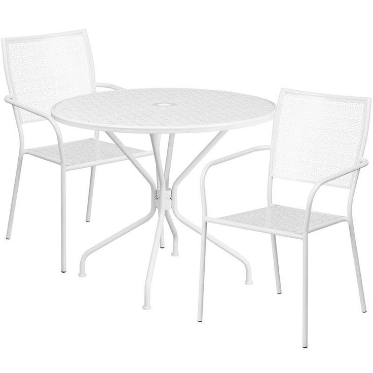 35.25'' Round White Indoor-Outdoor Steel Patio Table Set with 2 Square Back Chairs