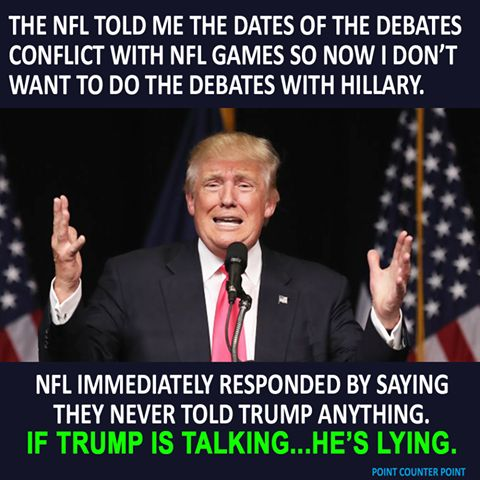 I LOVE that he's too afraid to debate Hillary but he's gotta suck it up! I'm looking forward to her talking rings around him!