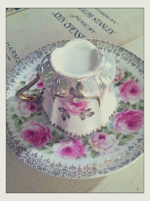 Vintage rose teacup