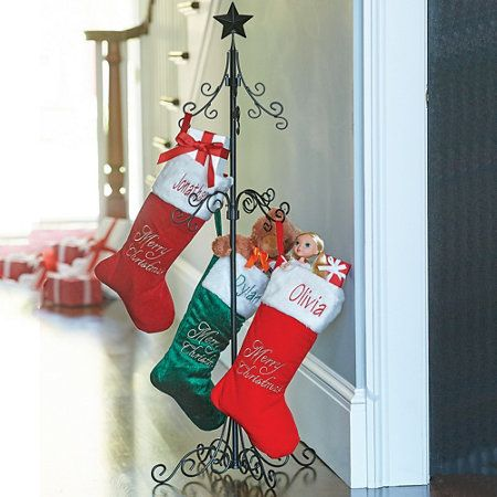 Tall Metal Christmas Stocking Holder Stand