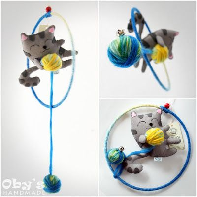 Giostrina con gattino, giostra culla, gatto feltro