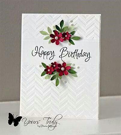 Birthday card elegant chevron embossing plus flowers