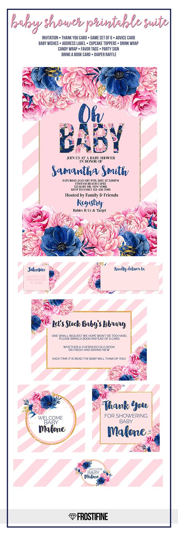 Navy blue and blush pink floral baby shower invitation with matching party decor…