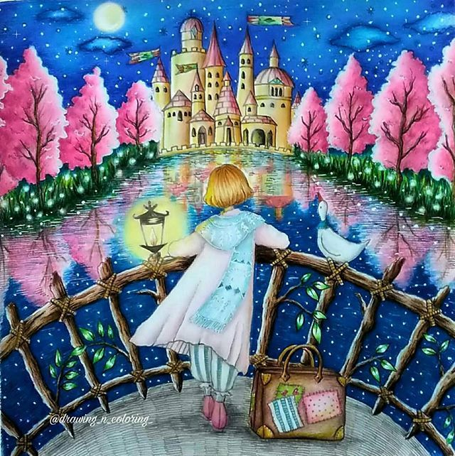 Pinktrees Waterreflection Castle Adultcoloring Adultcoloringbook Coloring Creativecoloring Coloringbook Starrynight Coloringoftheday Dream