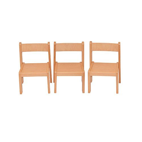 Childrenu0027s Furniture Solid Beech Wood Set Of 3, Three Chairs Without Arm  Rest Natural Varnished