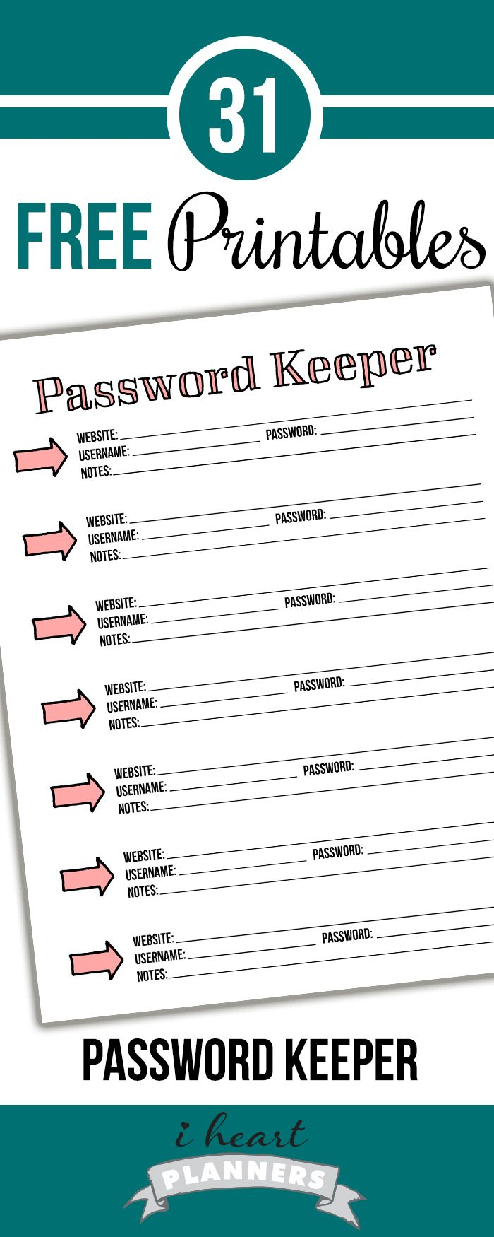 Welcome to Day 6 of the 31 days of free printables! Today's printable was requested by several of you who wanted a place to keep track of your passwords and log in information. If you are anything like me, you have a lot of passwords to remember. Click below to download the pdf version of this …