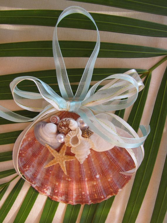 Scallop Shell Ornament, Beach Decor Christmas Ornament, Nautical Ornament, Seashell Ornament