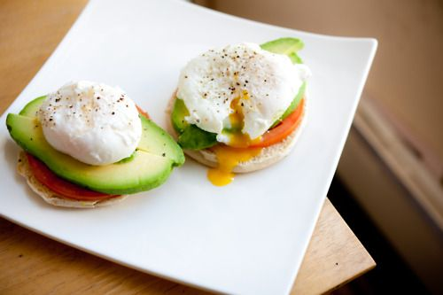 ... breakfast english muffin, tomato, avocado, poached eggs, pepper, BOOM