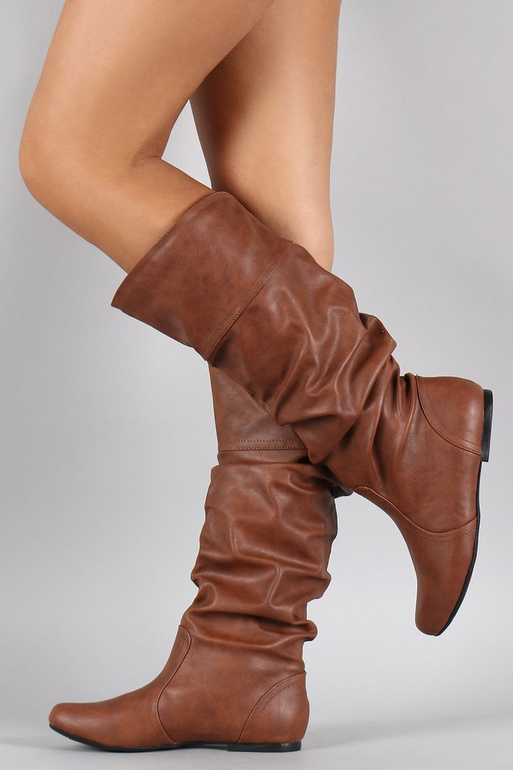 *Stitch Fix stylist: I'm looking for a pair of cognac, slouchy, real leather, flat boots* Slouchy Round Toe Knee High Flat Boot $35.90