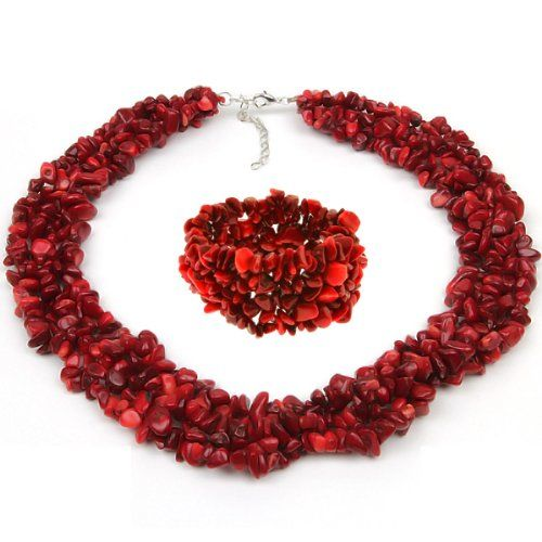 "18"" Multi Strands #Red #Coral #Chips Cluster #Necklace and #Bracelet Set $23.99 http://www.mysharedpage.com/18-multi-strands-red-coral-chips-cluster-necklace-and-bracelet-set"