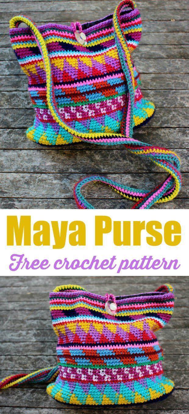 Free bag crochet pattern. Tapestry crochet. Love the designs in this crochet bag pattern.