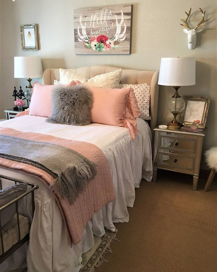 gray and pink twin girl bedroom ideas We're feeling pretty in pink with this stunning bedroom design. Shoutout to our awesome