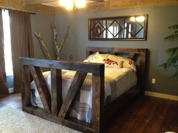 Authentic timber frame queen size bed made of pine. on Etsy, $2,698.80
