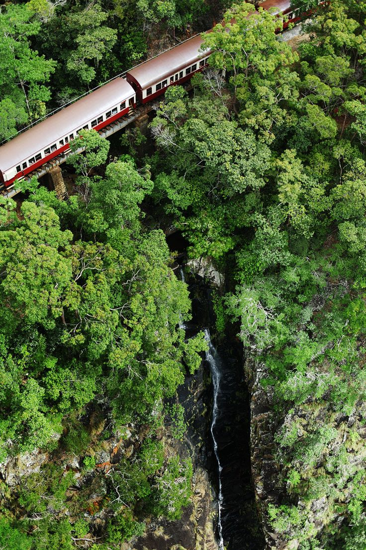 Kuranda Scenic Railway passing over Camp Oven Creek, Tropical North Queensland, Australia