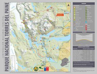 turismo yamana: Mapa Parque Nacional Torres del Paine
