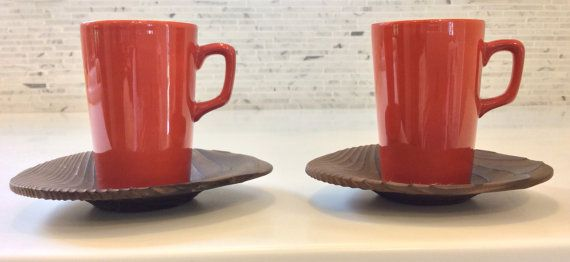 Freeman Lederman Espresso Cups and Saucers, Set of 2, Mid Century Modern, In the style of Kenji Fujita on Etsy, $59.95