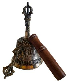 """Three piece Tibetan Bell with Dorji has excellent tone and can be rung easily similar to a school bell. Does not require skill to use. This is a good choice for ritual or even to show off as a decore piece . Detailed metal casting, 6""""."""