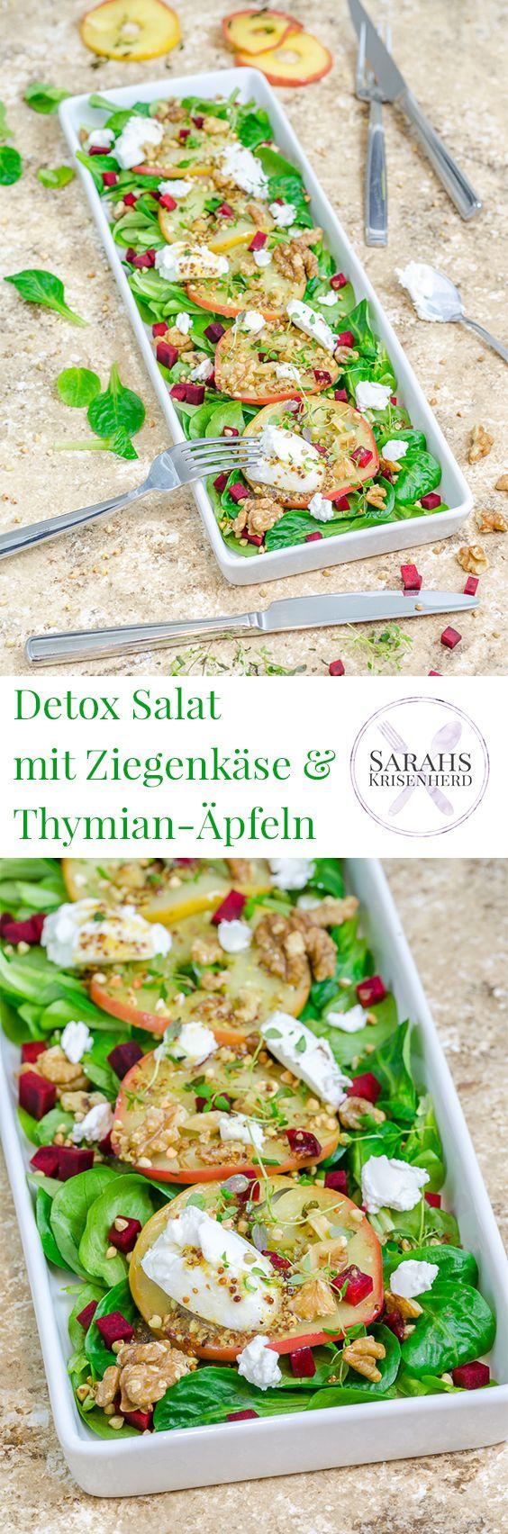 Detox Salat zum Jahresanfang: Feldsalat mit Thymian-Äpfeln, Ziegenfrischkäse und Walnüssen
