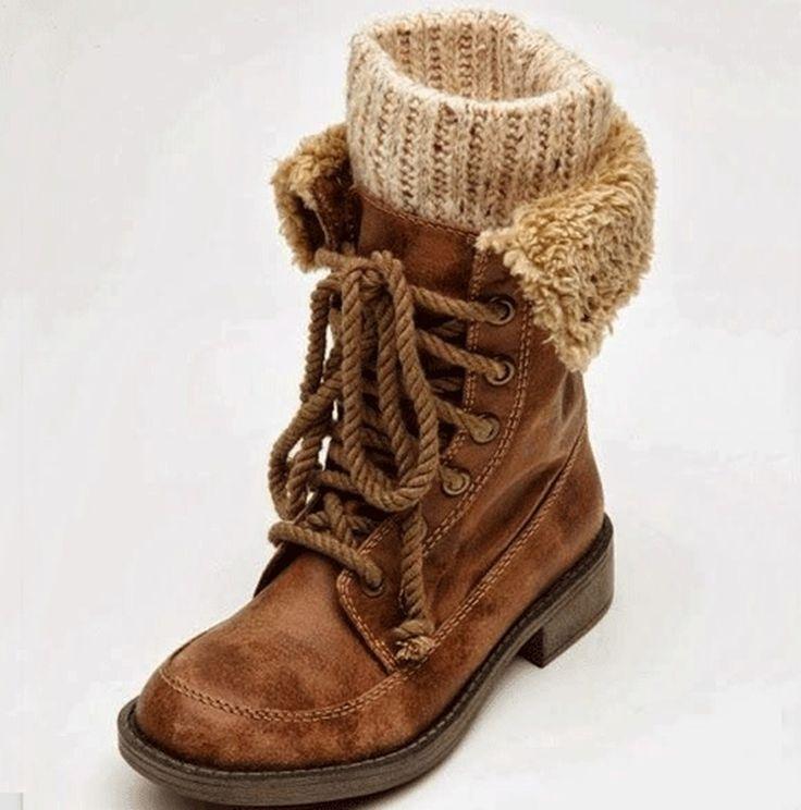 Fancy Lace-Up Contrast Color Flat Boots