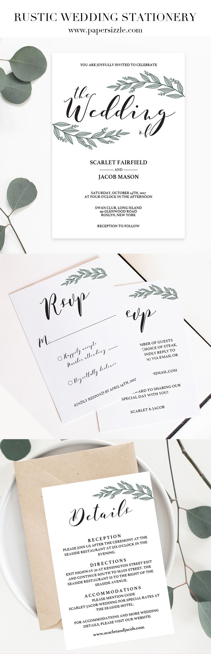 """This """"Rustic Branch"""" wedding invitation suite by Papersizzle is perfect for any rustic or greenery wedding. The set consists of a wedding invitation, two rsvp cards and two details cards. The rustic DIY stationery templates are editable in Adobe Acrobat Reader (free version), which make them easy AND perfect for any couple on a budget as there is no need for a professional editor. Sign up for our newsletter atpapersizzle.com/...and receive 15% off your first order!"""