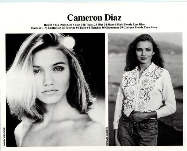 Cameron Diaz - Modeling card from Elite LA 1990