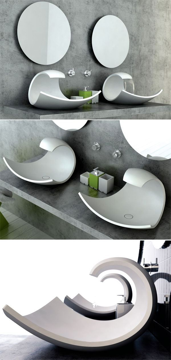 Aufsatzbecken Design Futuristisch Joel Roberts Eaux Eaux Badezimmer  Accessoires