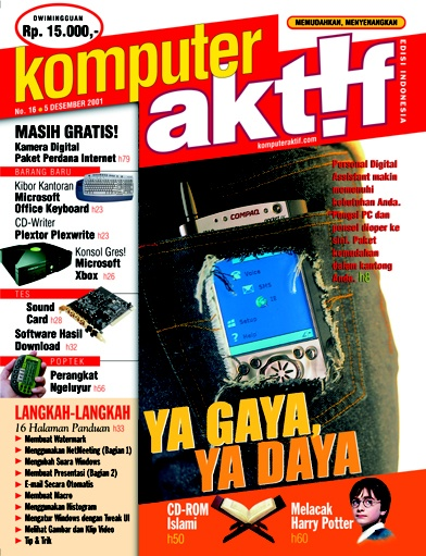 You may say PDA-phone is obsolete but in 2001 this gizmo was sophisticated. The mag's creative team must ripped Miss Secretary's jeans pocket for picture making. :)  •••  Ed.16 Ya Gaya Ya Daya