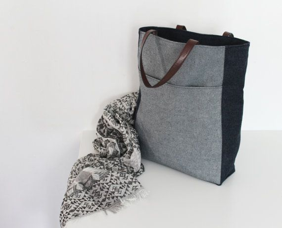 Tote bag denim canvas tote bag shopper bag large bag by Jamberoon