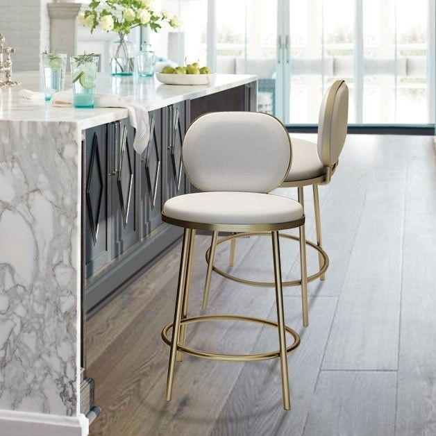 Modern Counter Height Bar Stool With Back Pink Beige Faux Leather Upholstery Round Counter Stool In Gold Finish In 2021 Counter Height Bar Stools Bar Stools With Backs Stools With Backs