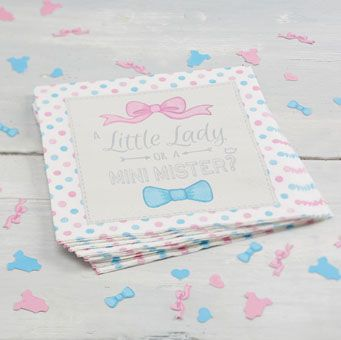 Cute paper napkins perfect for a baby shower or gender reveal party!