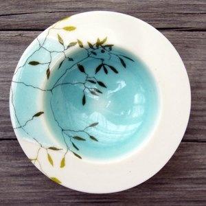 "Sweden Karin Eriksson Small aqua hand thrown porcelain ""Grass"" bowl h1diam3 (available via manos in Stockholm or online)"