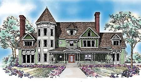 Queen Anne Inspiration - 81207W   Victorian, 2nd Floor Master Suite, Butler Walk-in Pantry, Den-Office-Library-Study, MBR Sitting Area, Media-Game-Home Theater, PDF, Unlimited Build License   Architectural Designs