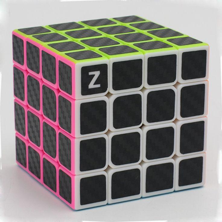 真新しいzcube 4 × 4 × 4スピード魔法のキューブパズルゲームキューブのおもちゃ知育玩具用子供キッズ-炭素繊維ステッカー